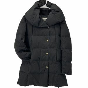 Cole Haan Black Quilted Feather Down Hooded Jacket
